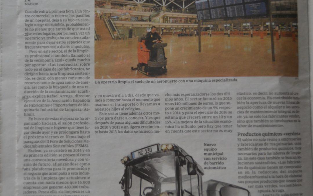 """Articulo en ABC  """"La limpieza profesional y ecológica"""" 24/6/2016"""