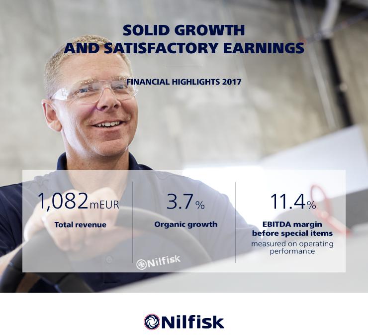 NILFISK informa de los resultados financieros 2017: Crecimiento sólido contínuo.